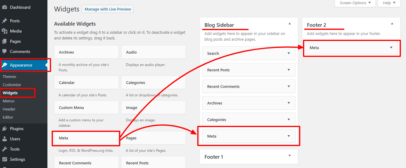 adding-wordpress-login-url-sidebar-footer