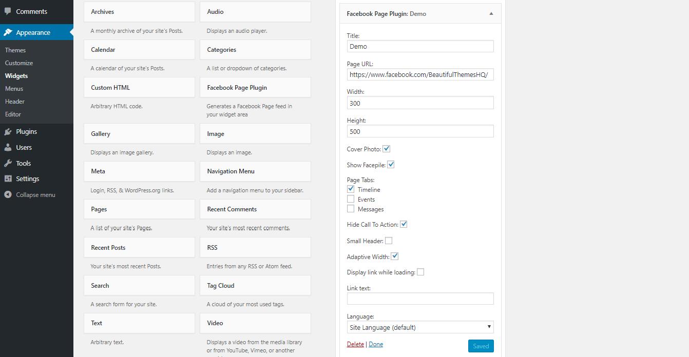 WordPress Facebook Widget Fill Data