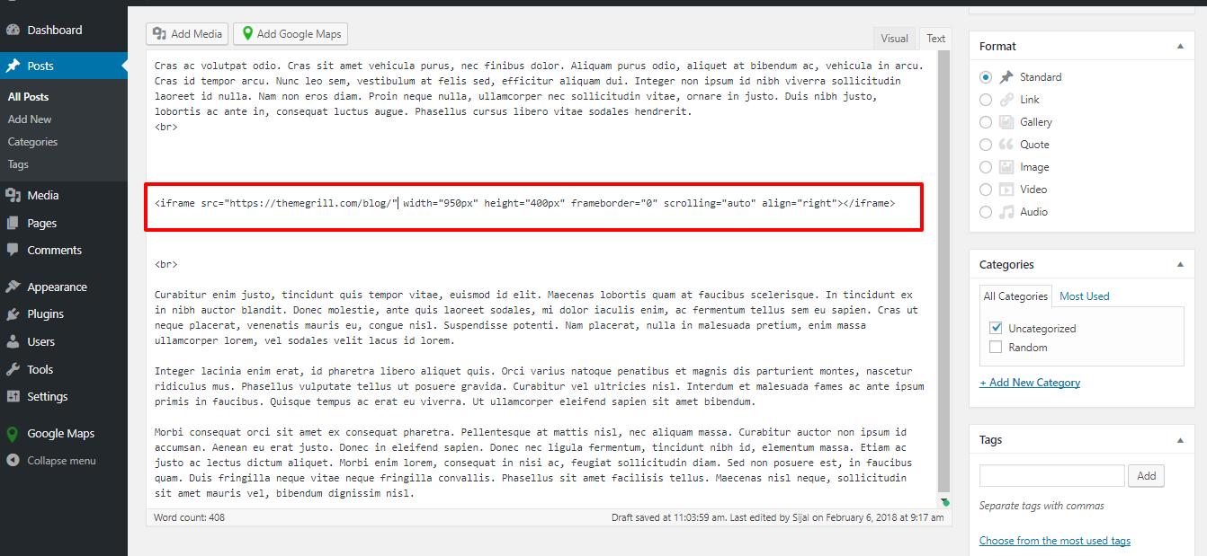 WordPress-IFrame-HTML-Code