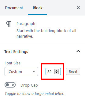 how to change font size in WordPress