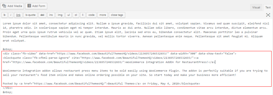 Embed_facebook_video_in_WordPress-JS_insert_text
