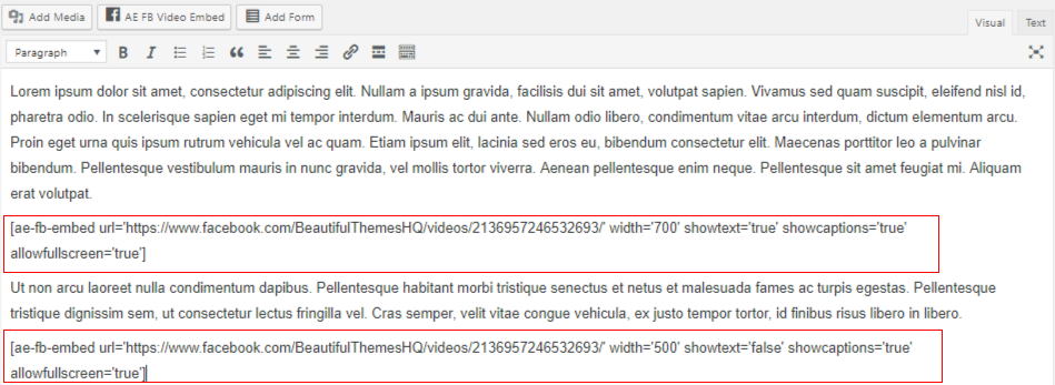 Embed_facebook_video_in_WordPress-plugin_insert_shortcode_text
