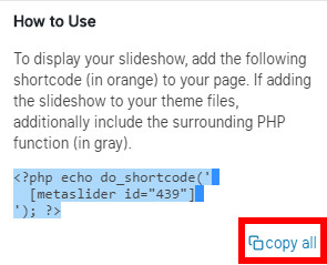 WordPress header into slideshow copy shortcode