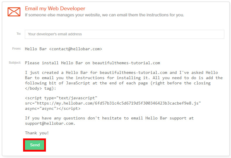 WordPress-hello-bar-email-developer