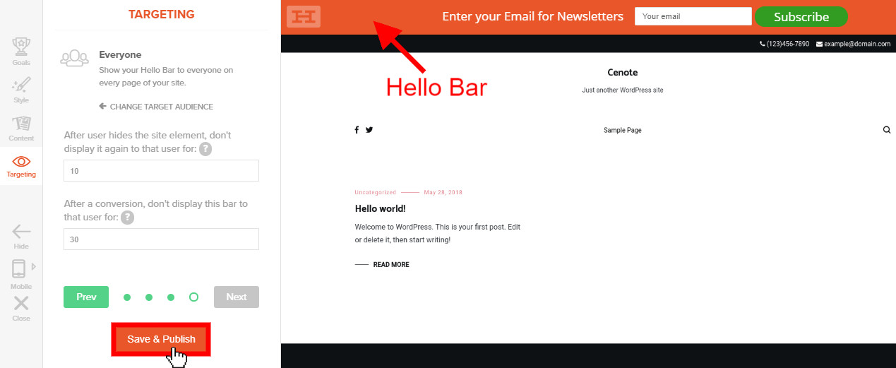 WordPress-hello-bar-section-targeting