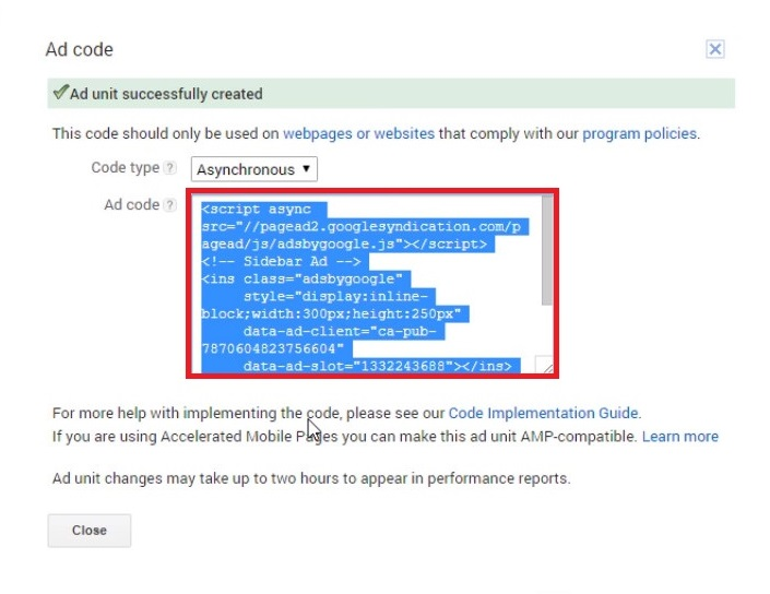 google adsense on wordpress copy code