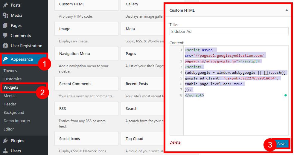 google adsense on wordpress paste widget