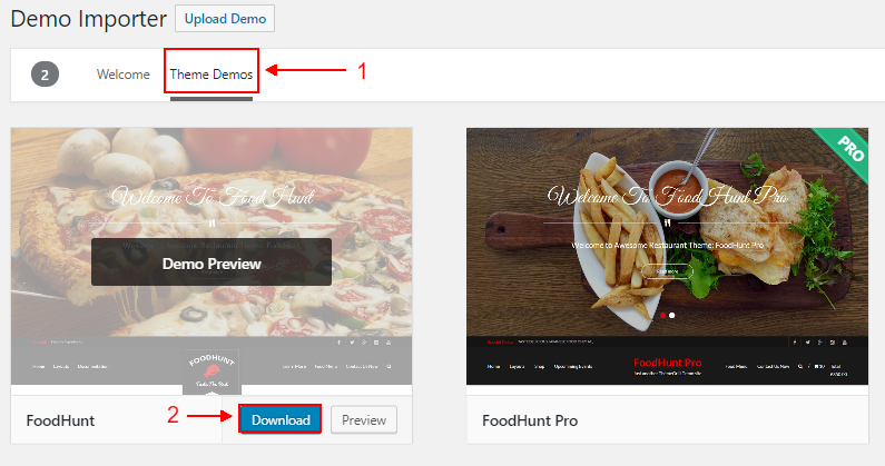 WordPress Food blogs FoodHunt demo importer download