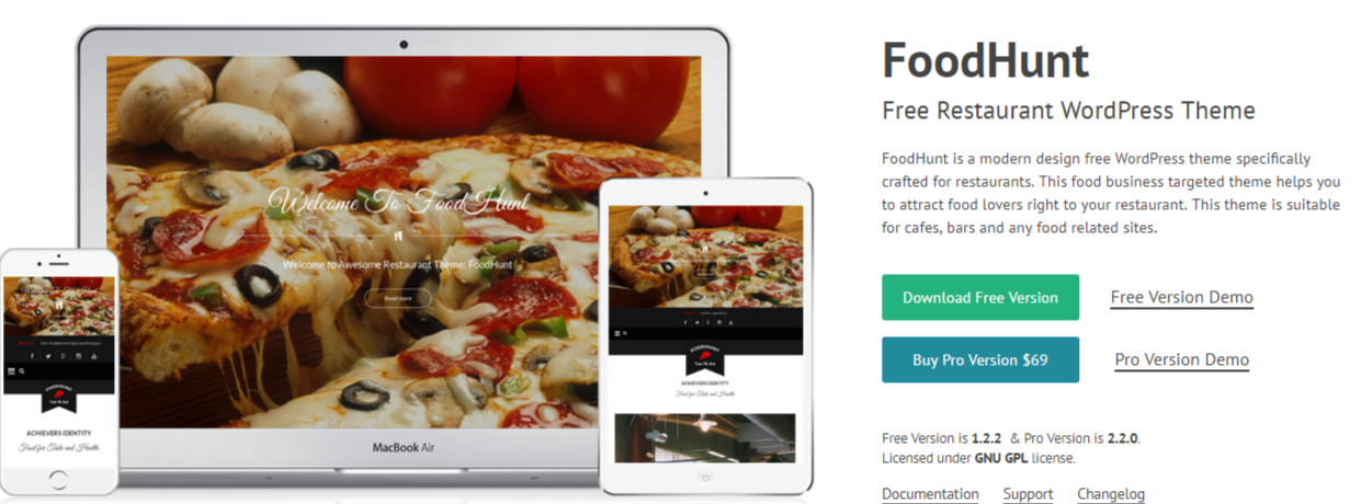WordPress Food blogs FoodHunt preview