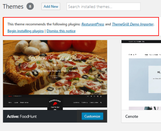 WordPress Food blogs FoodHunt recommendation plugins