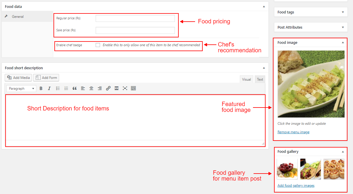 WordPress food blogs Menu items options