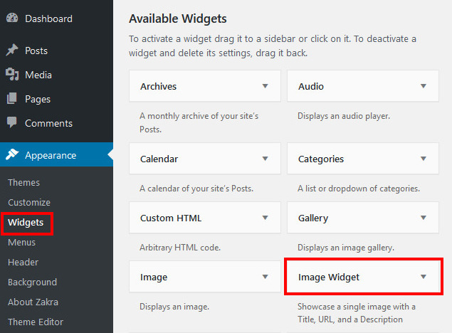 add widgets wordpress
