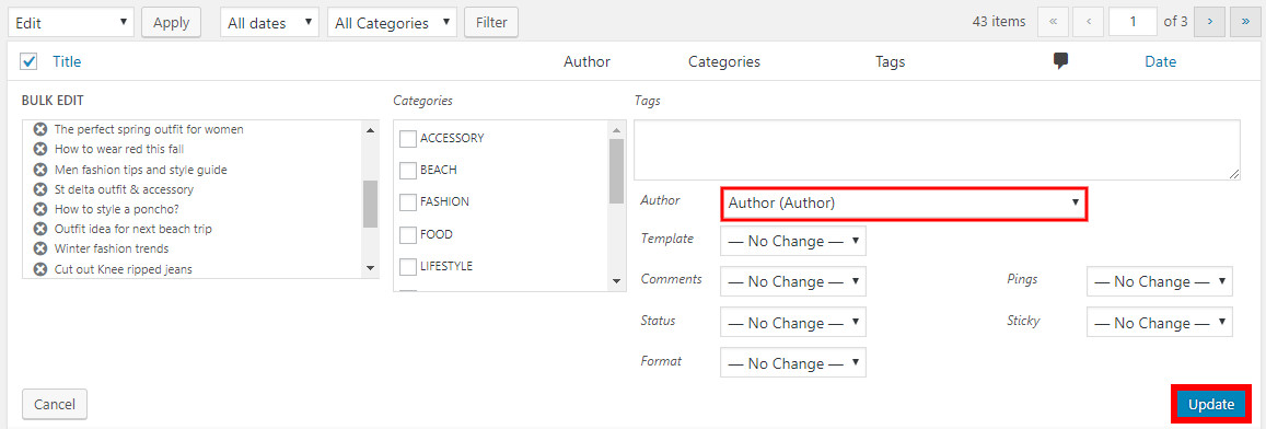 remove author from wordpress posts update name