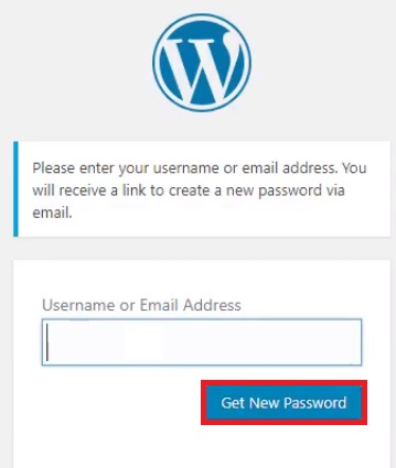 reset WordPress password get new password