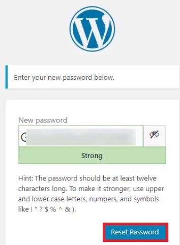 reset WordPress password reset password