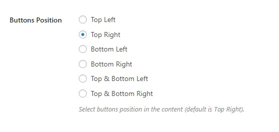 wordpress print button position setings