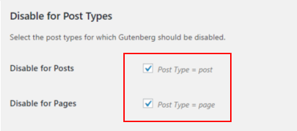 Disable gutenberg - Disable post types