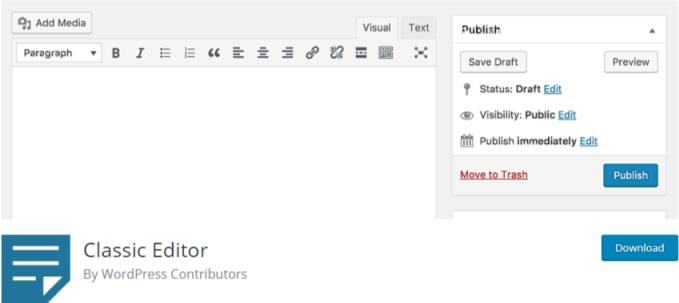 Disable gutenberg - classic editor plugin