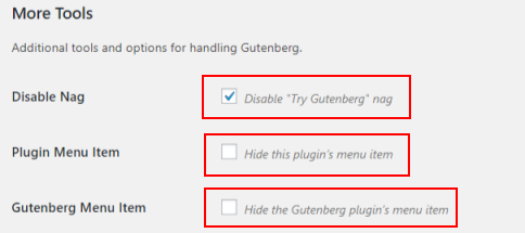 Disable gutenberg - more tools