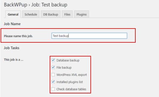 best backup WordPress plugin - backwpup job 1