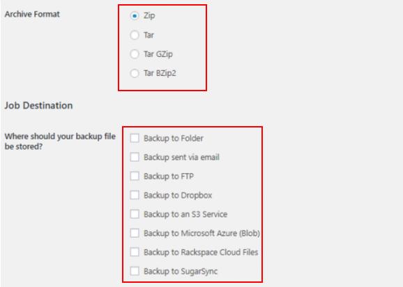 best backup WordPress plugin - backwpup job 2