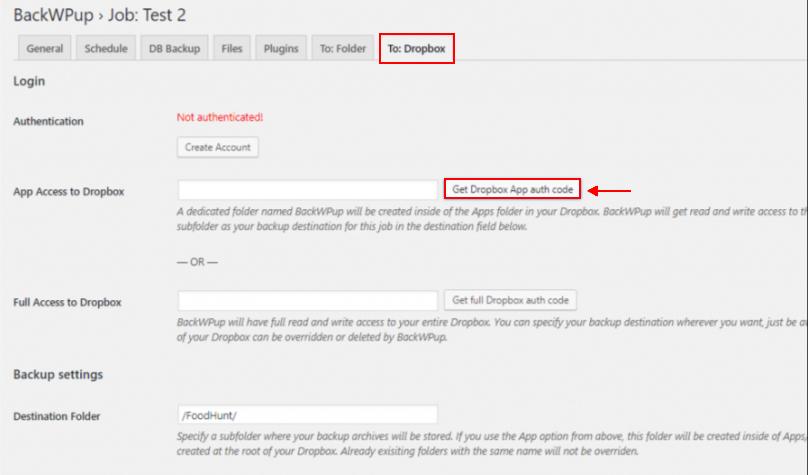best backup WordPress plugin - backwpup job dropbox page