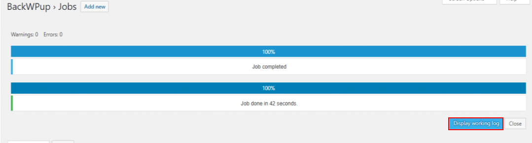 best backup WordPress plugin - backwpup job finished