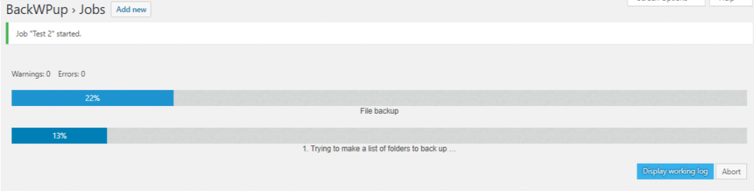 best backup WordPress plugin - backwpup job progress