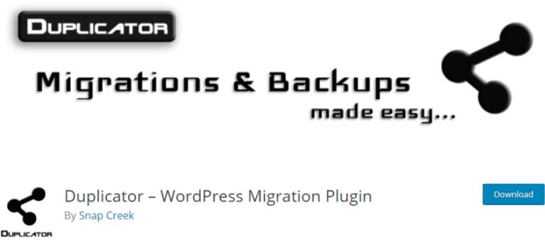 best backup WordPress plugin - plugin 3 duplicator