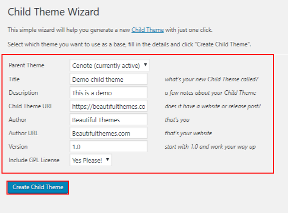 WordPress child theme - child theme wizard settings