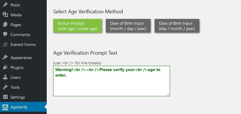 Age Verification WordPress