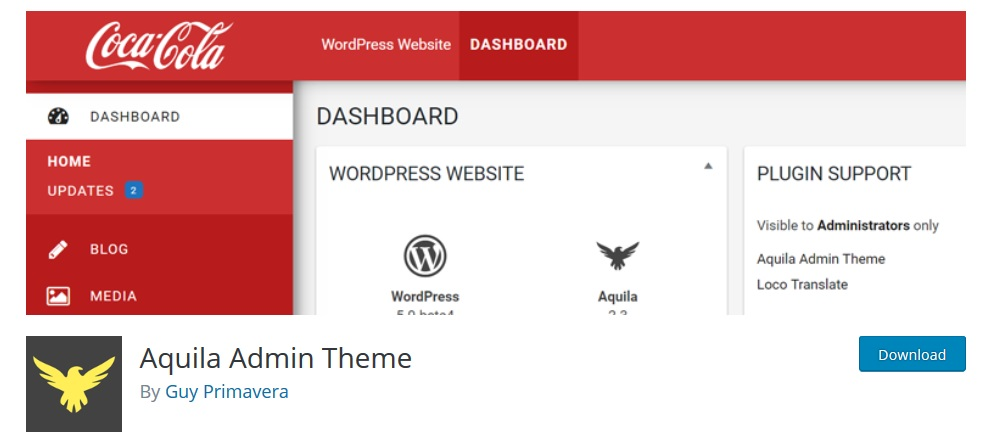 Aquila Admin Theme wordpress dashboard plugin