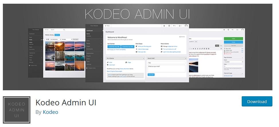 Kodeo Admin UI wordpress dashboard plugin