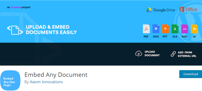 upload pdf to WordPress - embed any document plugin