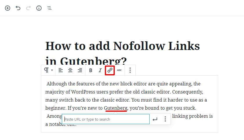 Nofollow link in Gutenberg WordPress