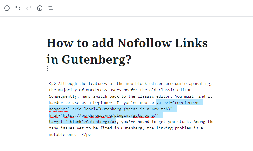 Nofollow links in Gutenberg