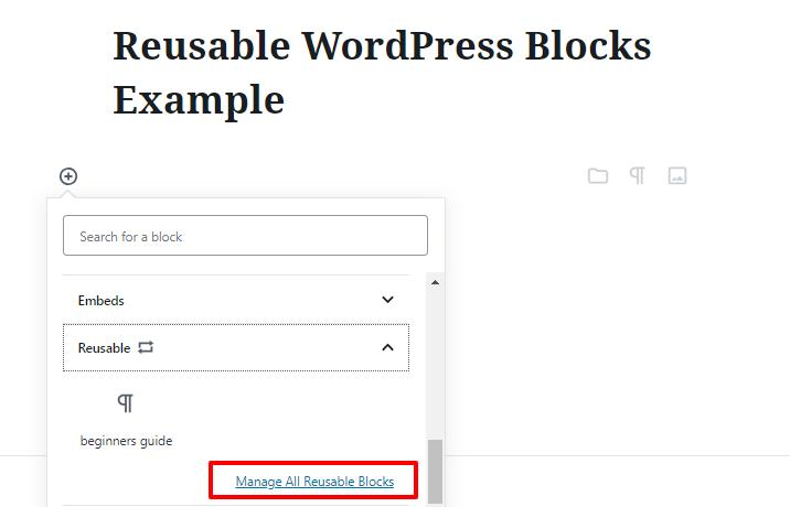 reuse wordpress blocks