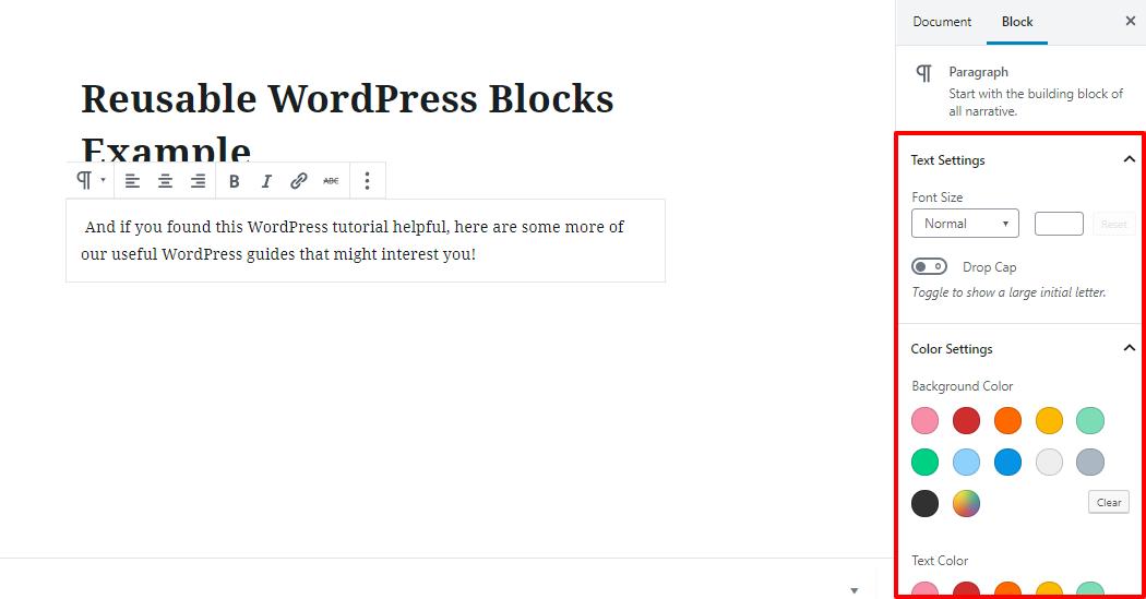 wordpress reuse block