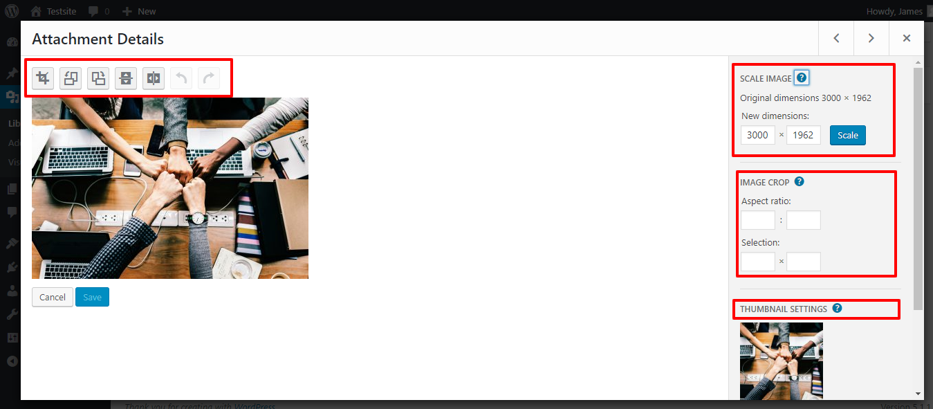 WordPress image editor three