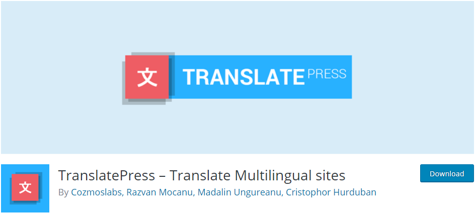 multilingual wordpress site translatepress