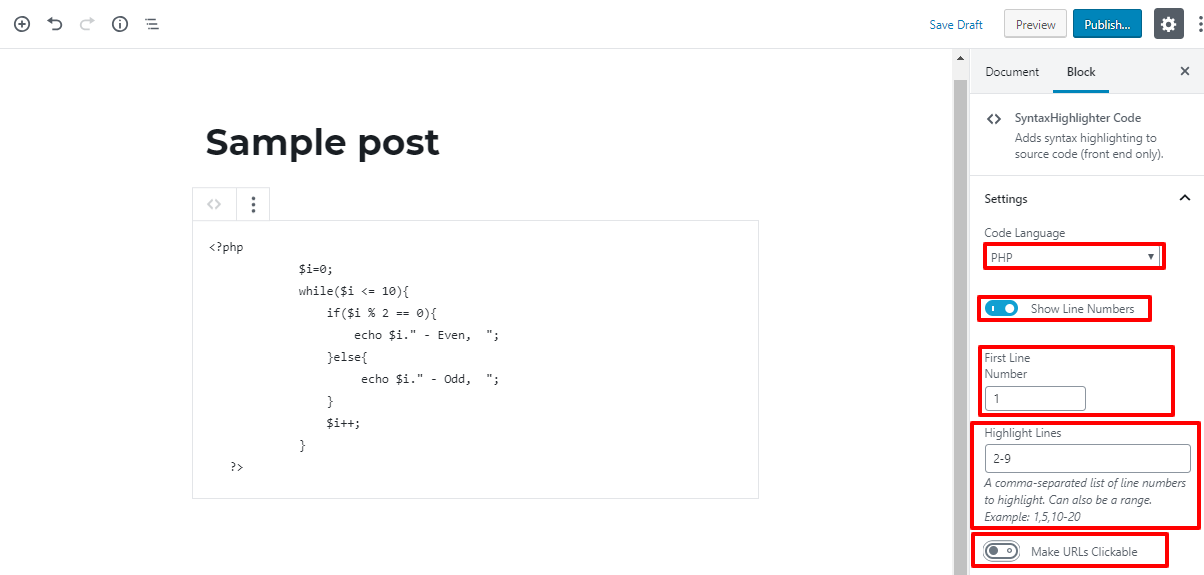 display code snippets in WordPress one