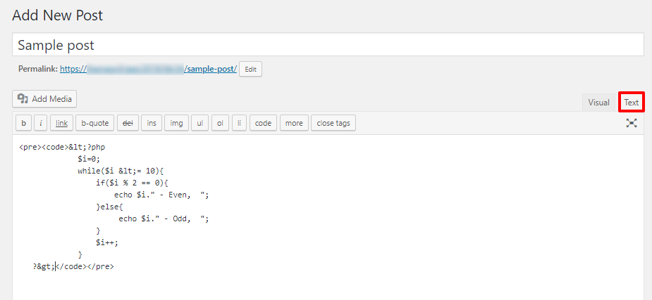 display code snippets in WordPress