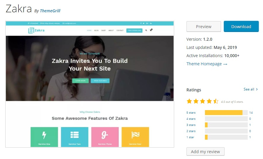 Zakra WordPress org