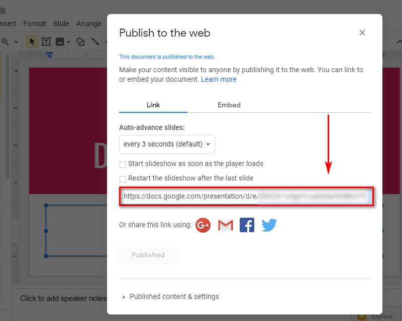 embed google slides in WordPress - slde url