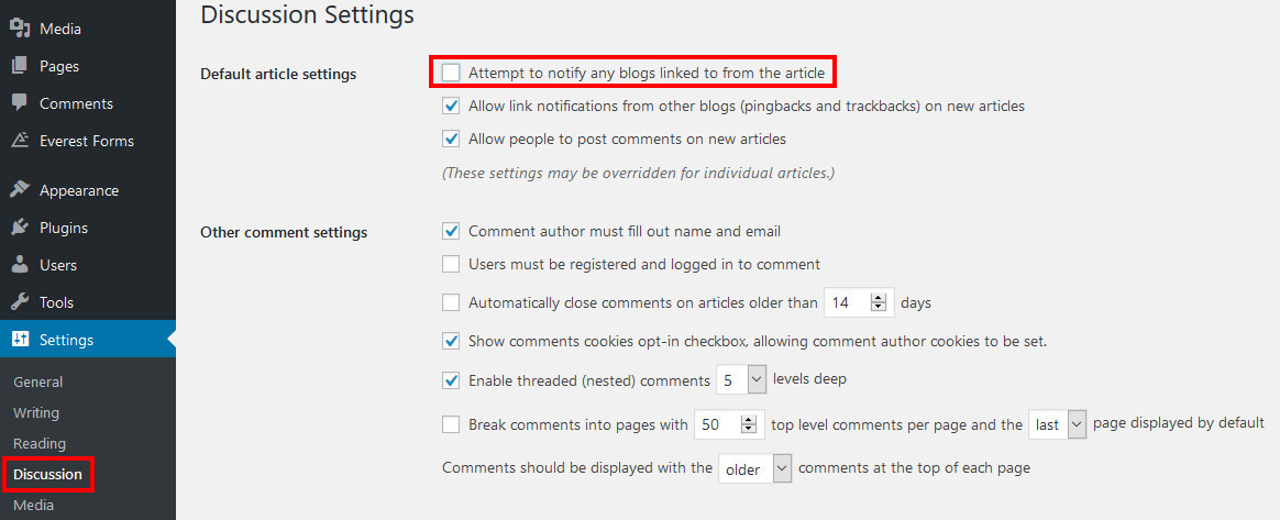 wordpress disable self pingbacks