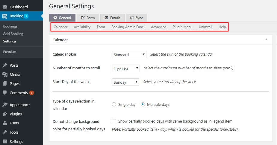 Settings Booking Calendar — WordPress