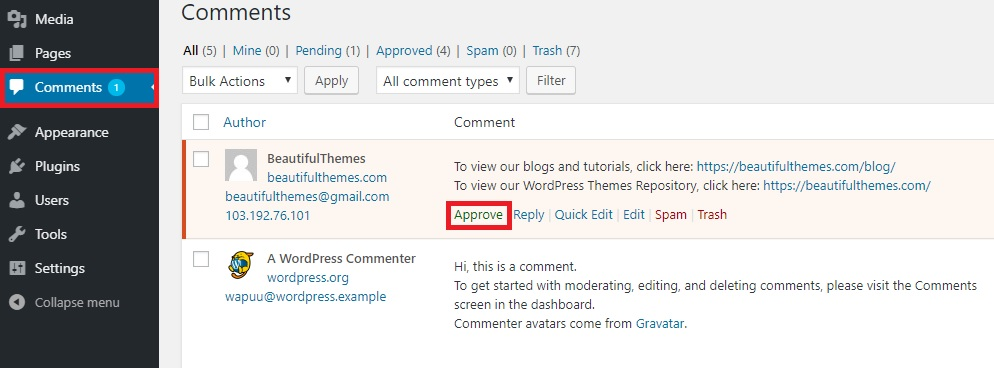 approve comments wordpress comment moderation