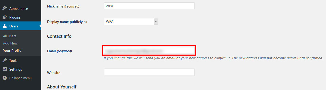 how to change wordpress email