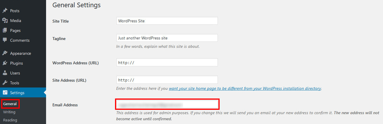 wordpress admin email