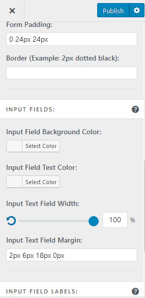 form padding input fields and labels